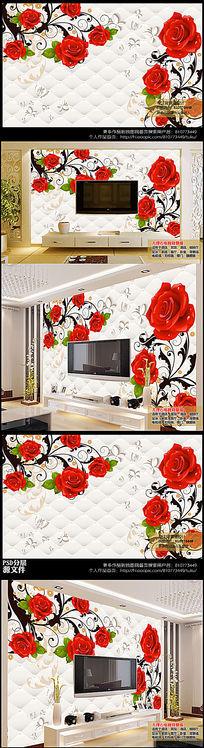 高清玫瑰花纹软包电视背景墙