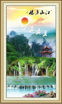 江山多娇高山仙鹤亭子池水玄关背景装饰画