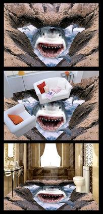 恐怖鲨鱼3D立体地贴