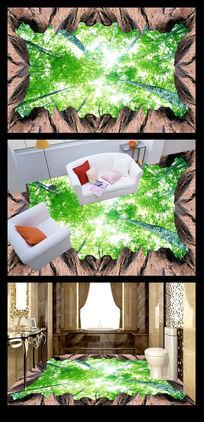 绿色唯美仰树3D地贴