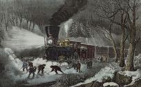 欧美火车复古餐厅画