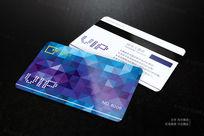蓝色时尚菱形拼接VIP会员卡设计 AI