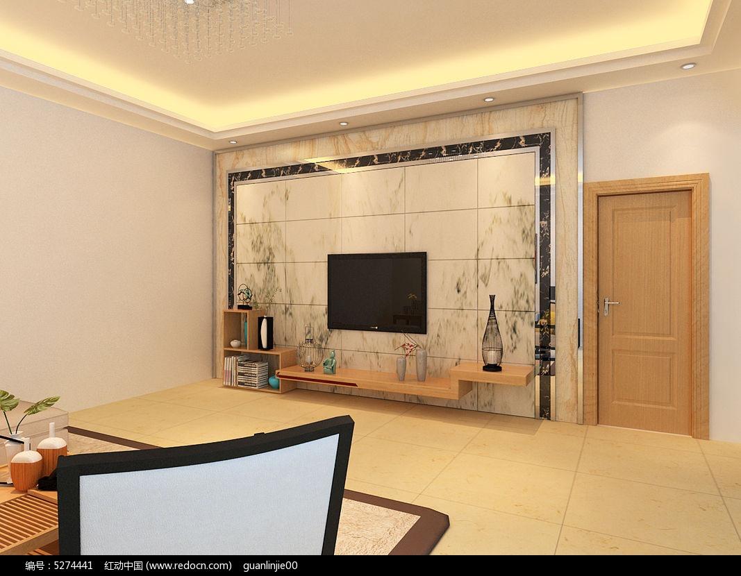 客厅微晶石造型电视背景墙3d模型