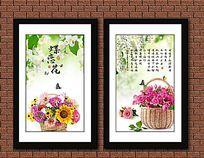 鲜花蝴蝶装饰画