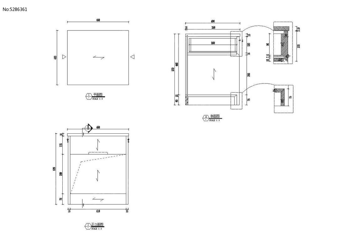 床头柜绘图CAD素材cad助理岗位职责的设计图片