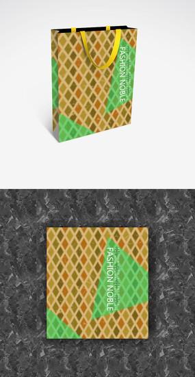 绿色块小清新手提袋模板