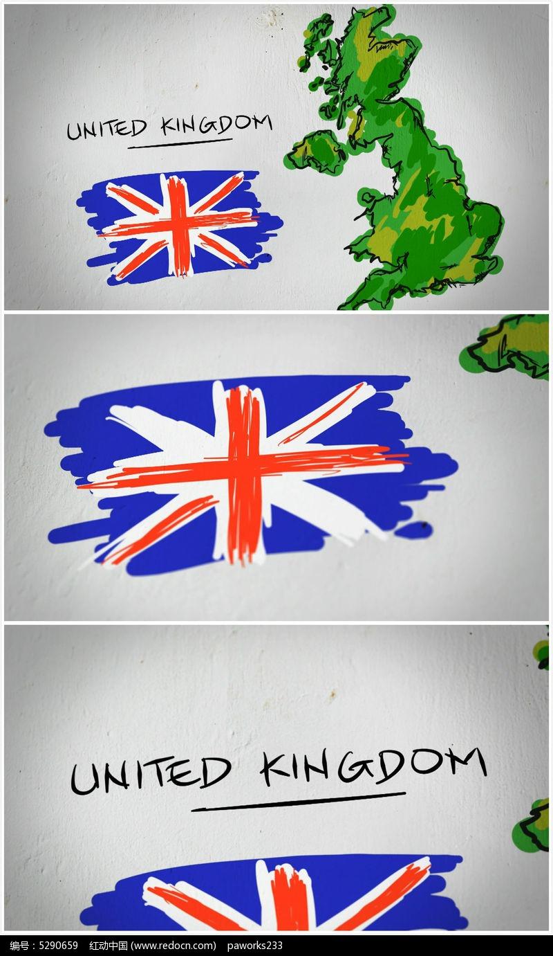 英国手绘涂鸦地图视频素材
