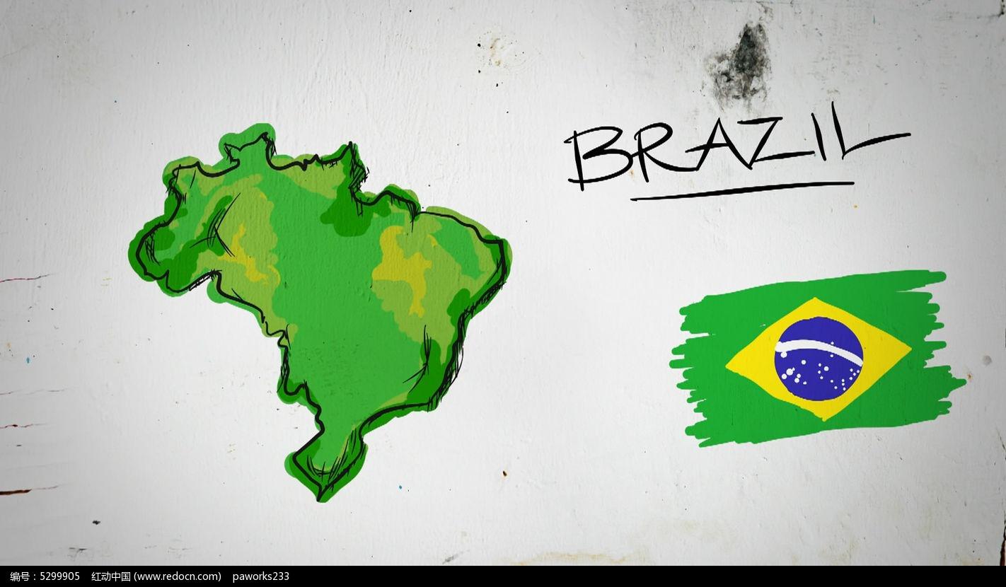 巴西手绘涂鸦地图视频素材