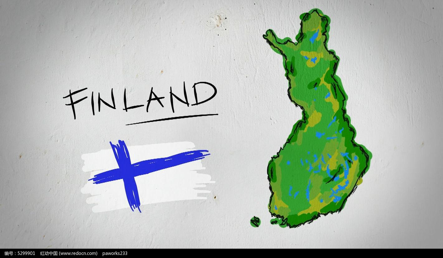 芬兰手绘涂鸦地图视频素材