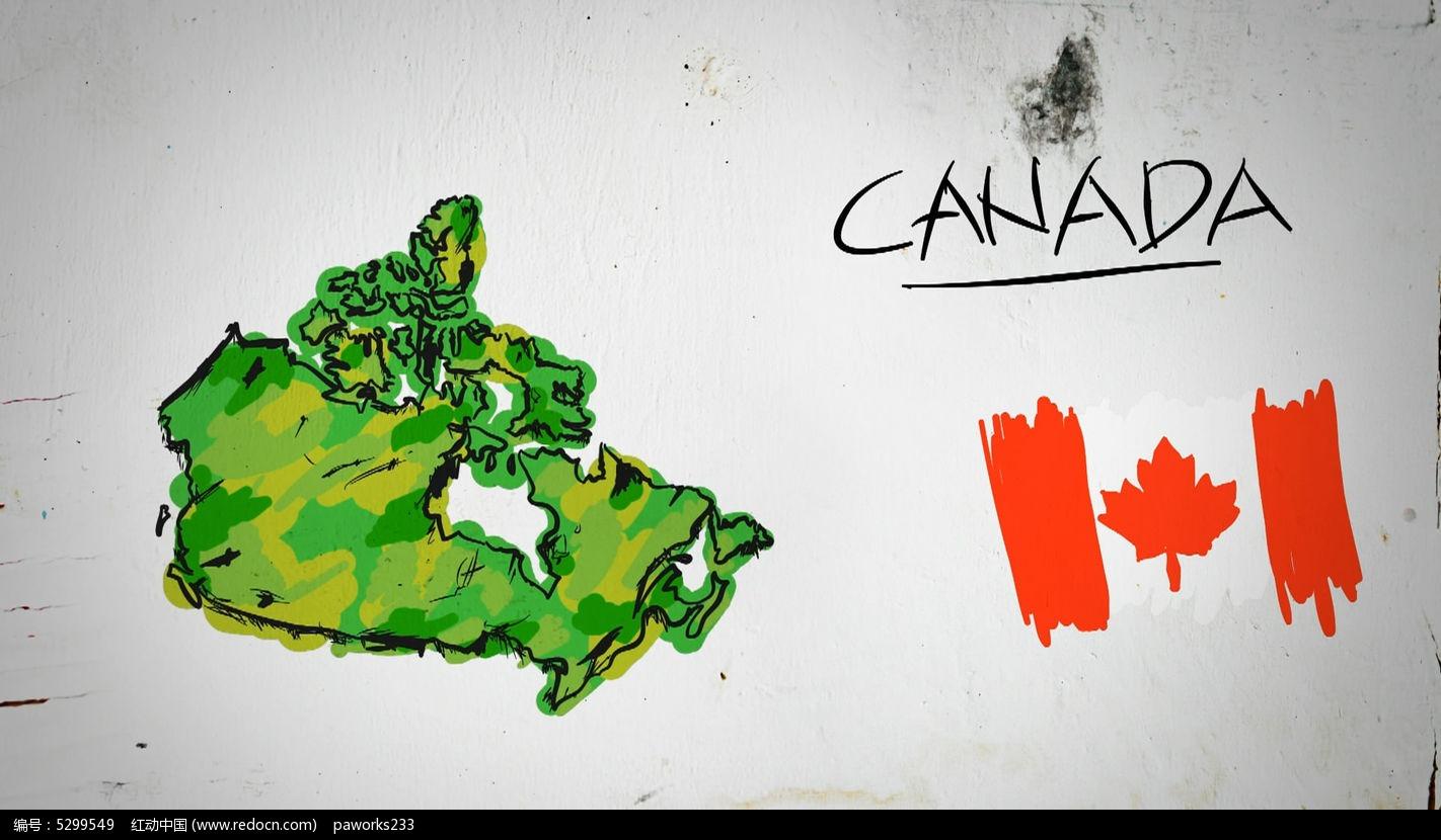 加拿大手绘涂鸦地图视频素材