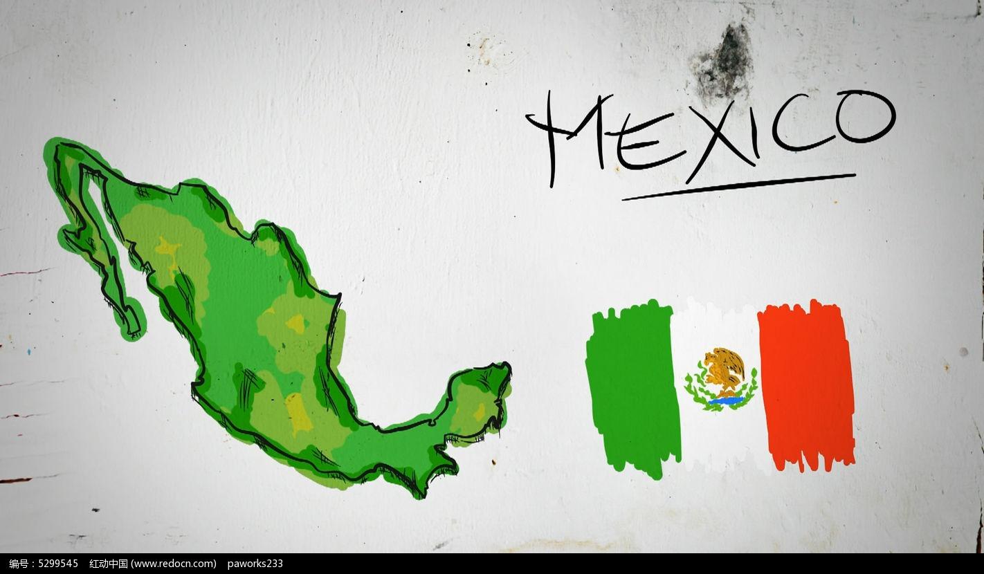 墨西哥手绘涂鸦地图视频素材