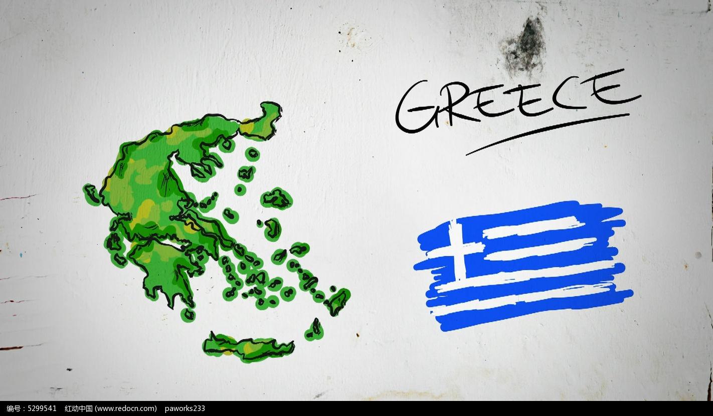 希腊手绘涂鸦地图视频素材