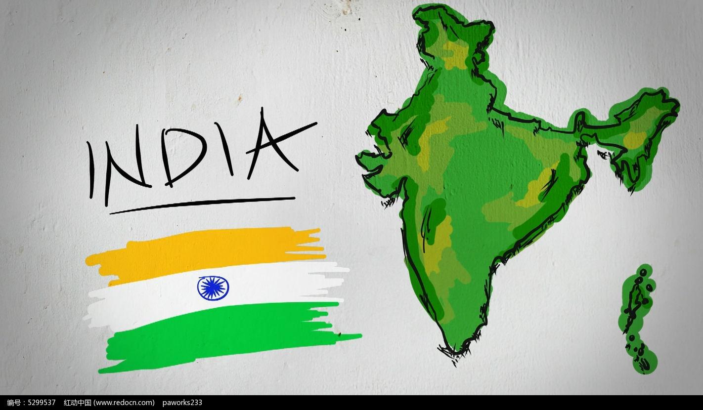 印度手绘涂鸦地图视频素材图片