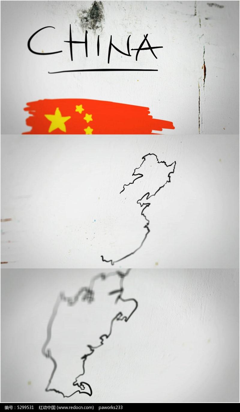 手绘地图视频 清新 创意视频