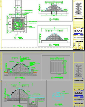 中心阶梯式喷水池设计施工图cad素材图片