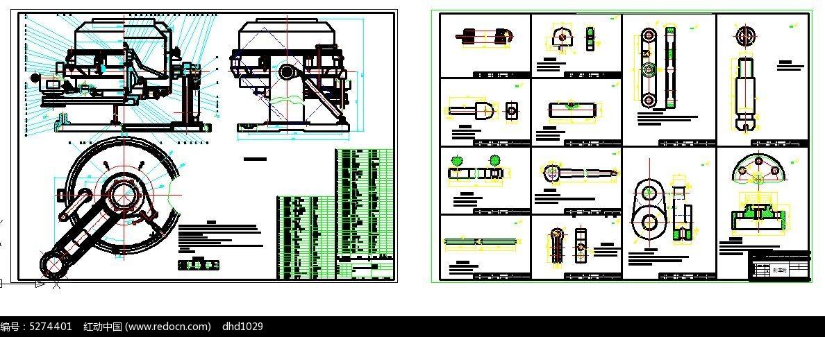 改版液压离心机装配图cad素材图片