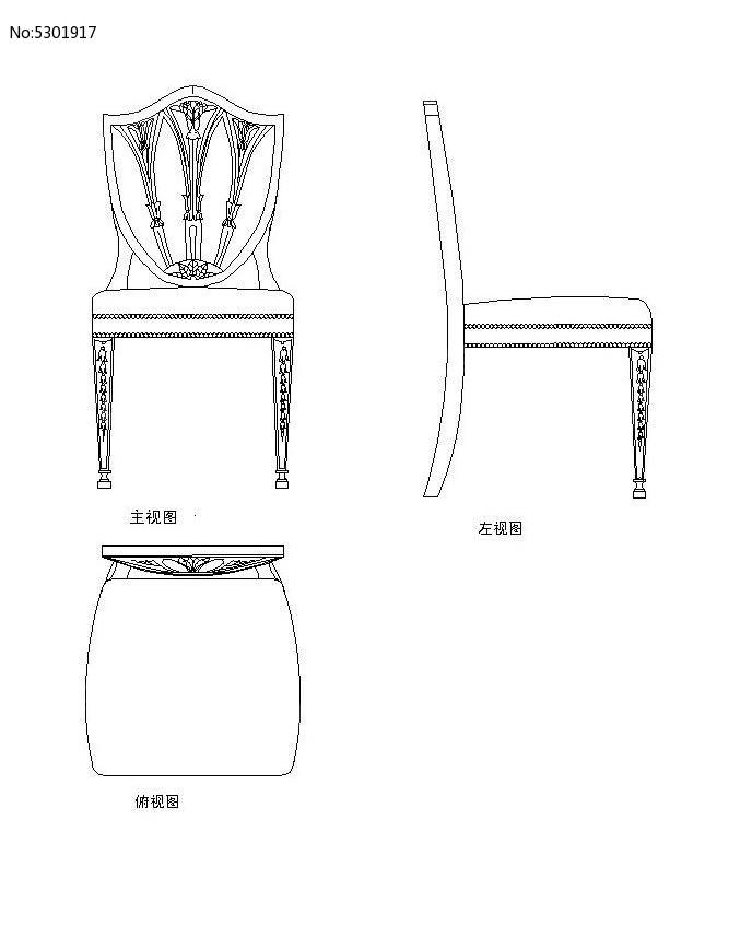 欧式椅子生产图CAD素材图片