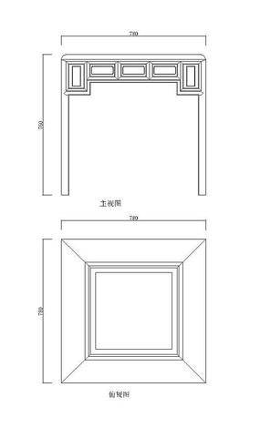 清红木竹子纹围棋桌CAD素材