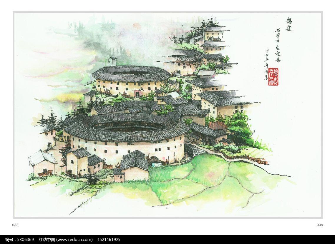 梅州土楼手绘图