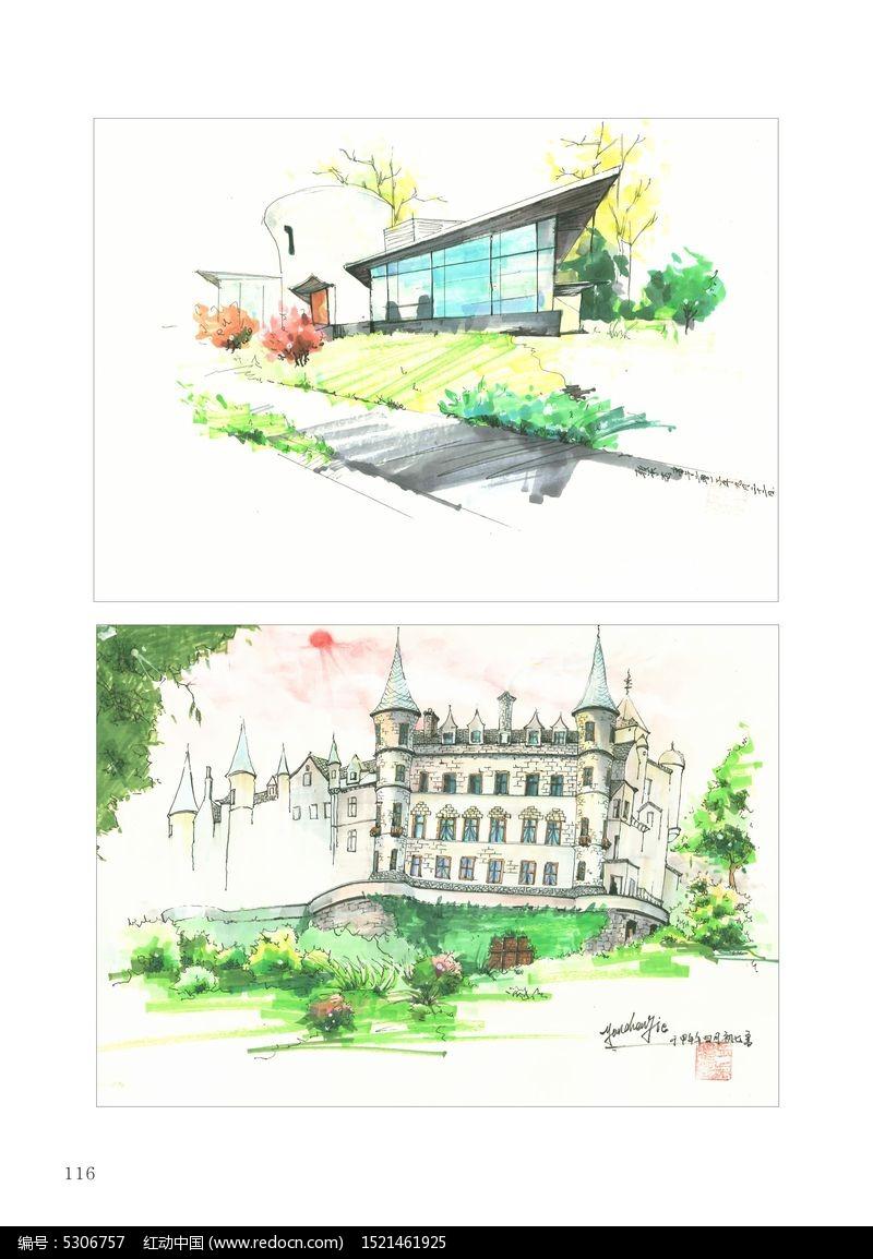手绘建筑风景