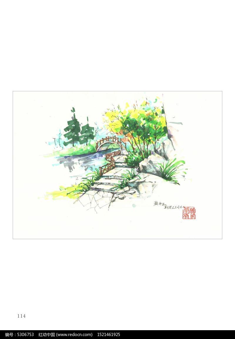 原创设计稿 卡通图片/插画 风景插画 手绘景观小桥  请您分享: 素材