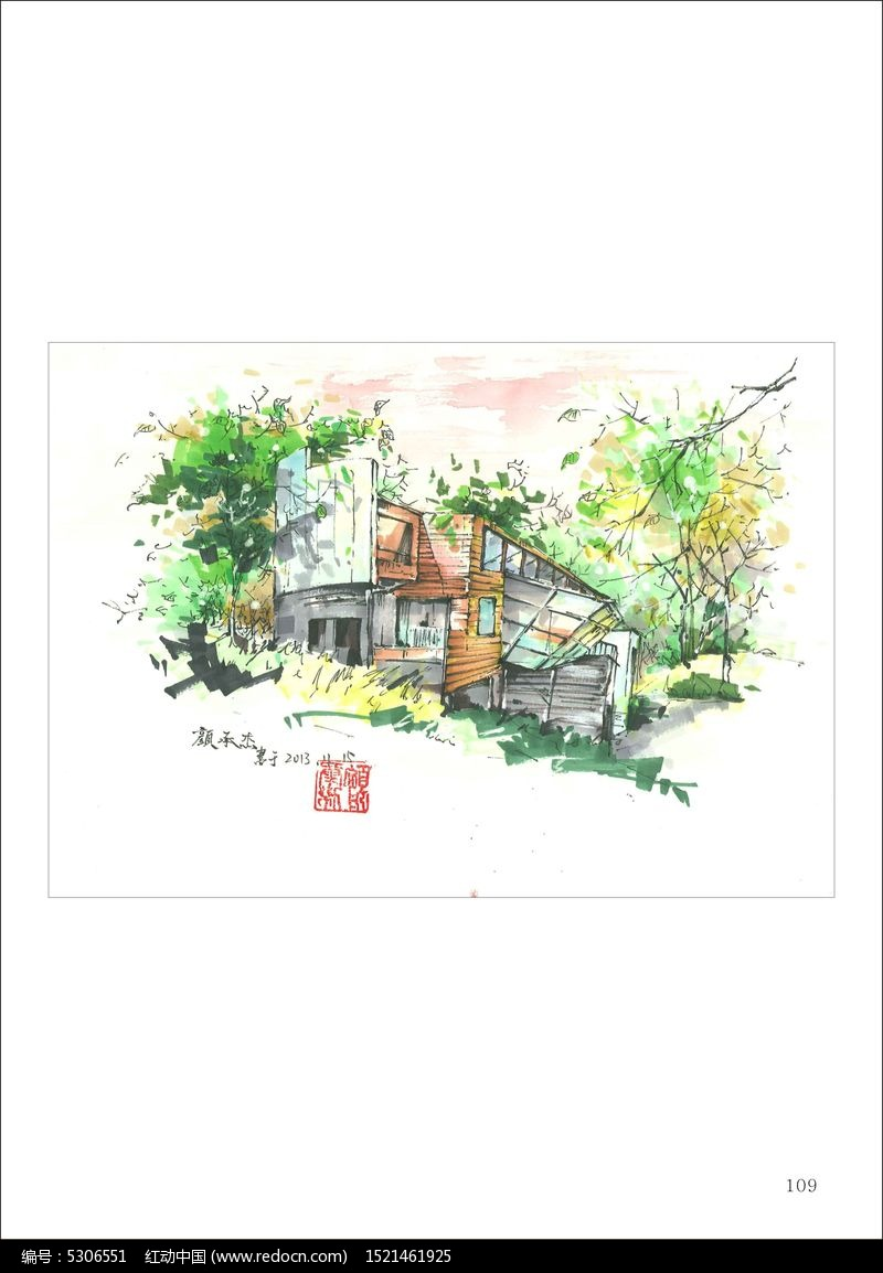 手绘景观园林_卡通图片/插画图片素材