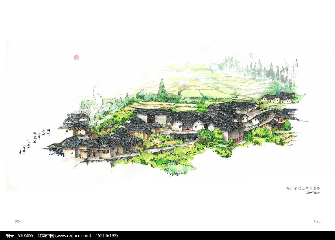 农村景观小品手绘
