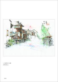 手绘上海枫泾古镇 PSD