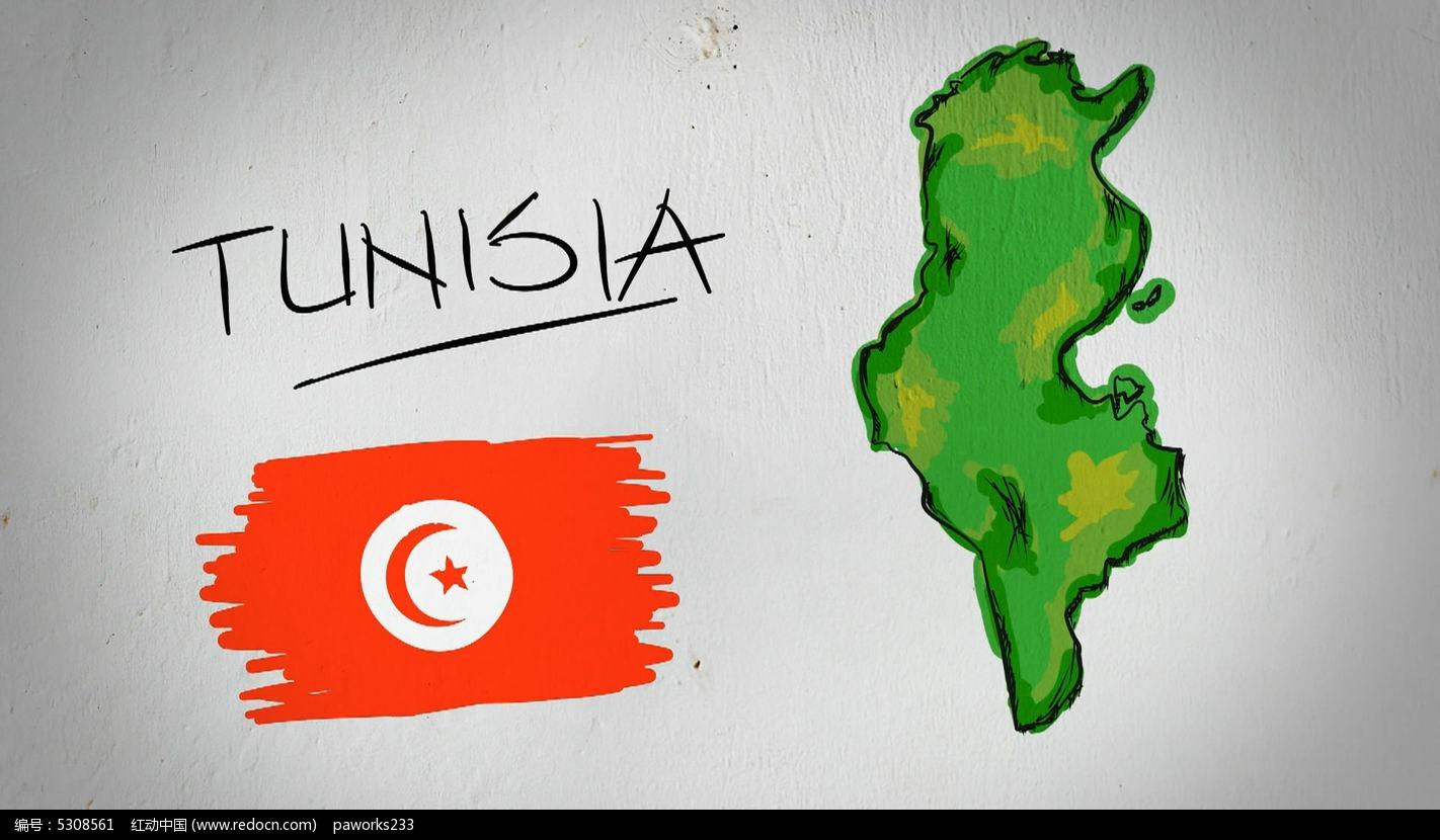 突尼斯手绘涂鸦地图视频素材
