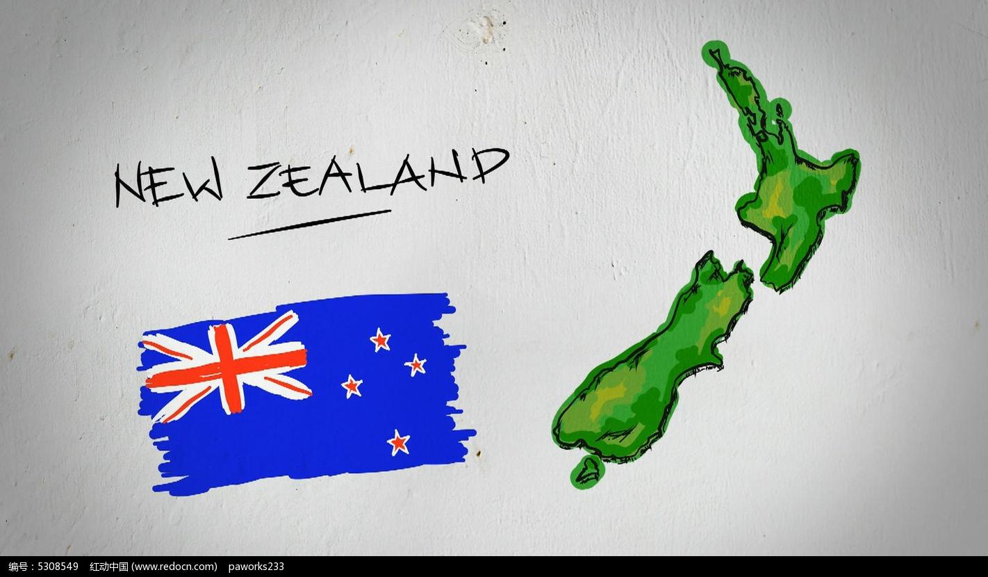 新西兰手绘涂鸦地图视频素材