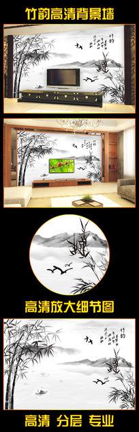 竹韵水墨江南壁画背景墙