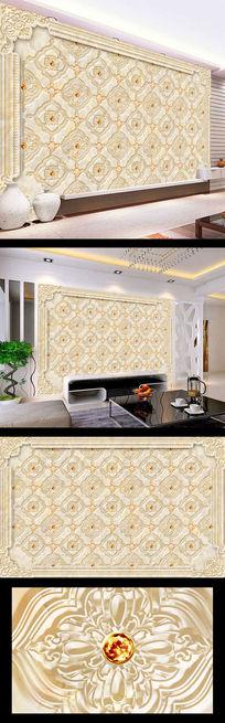 大理石花纹中式壁画电视墙