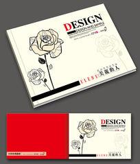 时尚简洁玫瑰花画册封面