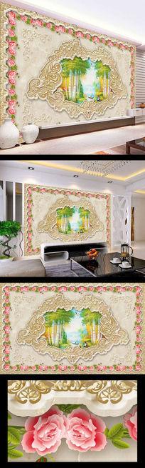树林油画大理石壁画电视墙