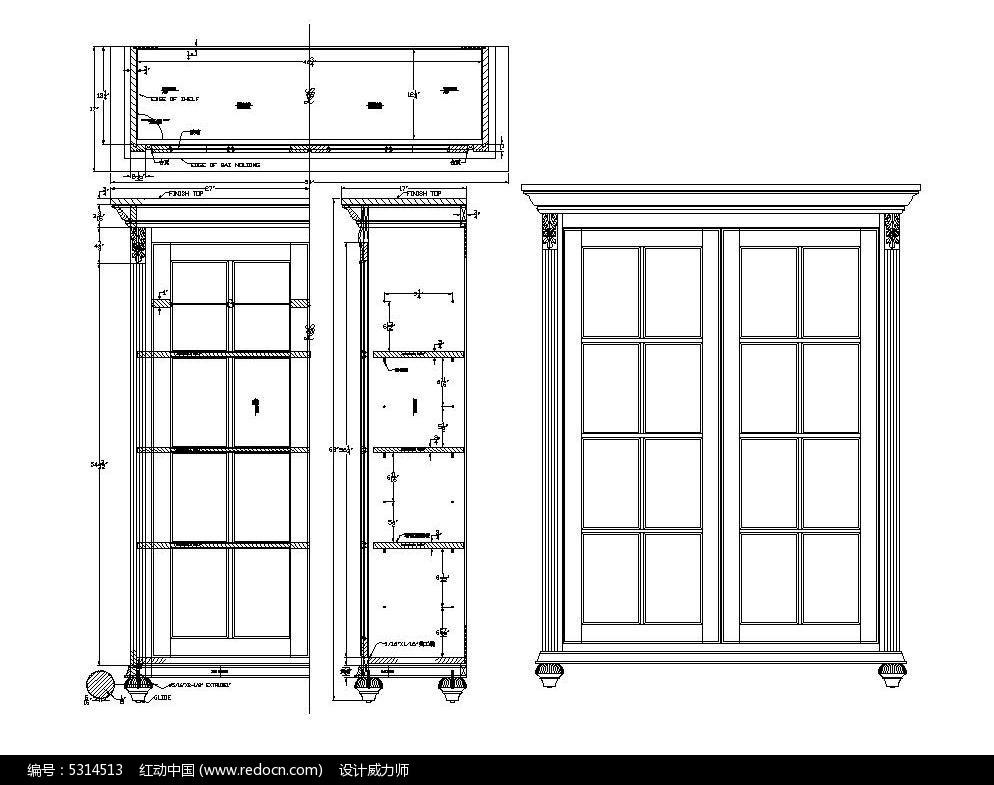原创设计稿 cad图库 室内装修 文件柜书柜图纸cad素材  请您分享图片