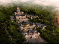 观音寺古代建筑鸟瞰效果图