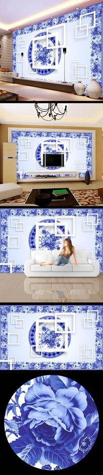 青花瓷牡丹花花纹电视墙