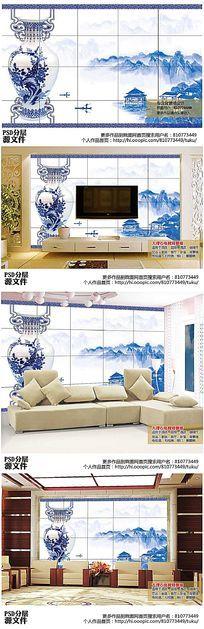青花瓷山水画电视背景墙高清图下载
