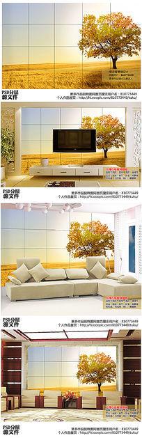 唯美大树电视背景墙高清图下载