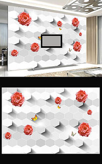 3D爱情浪漫玫瑰花立体电视背景墙装饰画