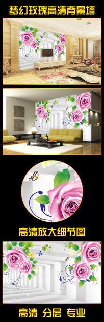 3D玫瑰花梦幻立体门
