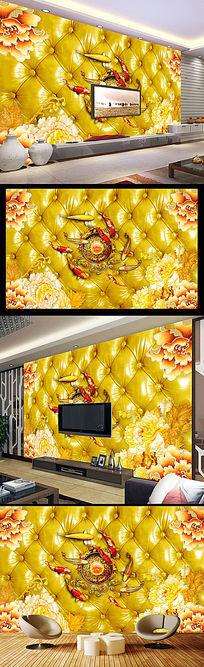 3D软包皮革彩雕牡丹九鱼图电视背景墙