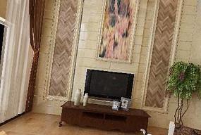 别墅中空客厅电视墙3D设计模型素材资料