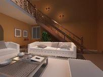 复式别墅现代风格客厅3D模型素材资料