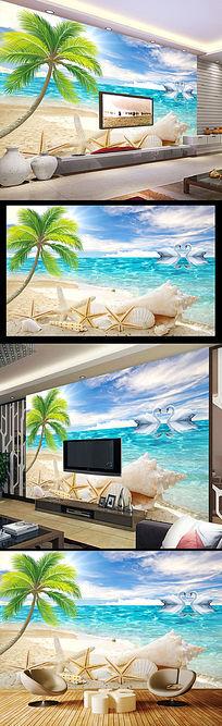 海滩椰树天鹅湖风景电视背景墙