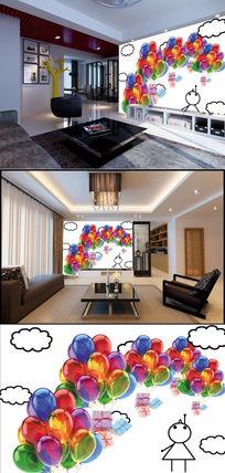 卡通人彩色气球背景墙