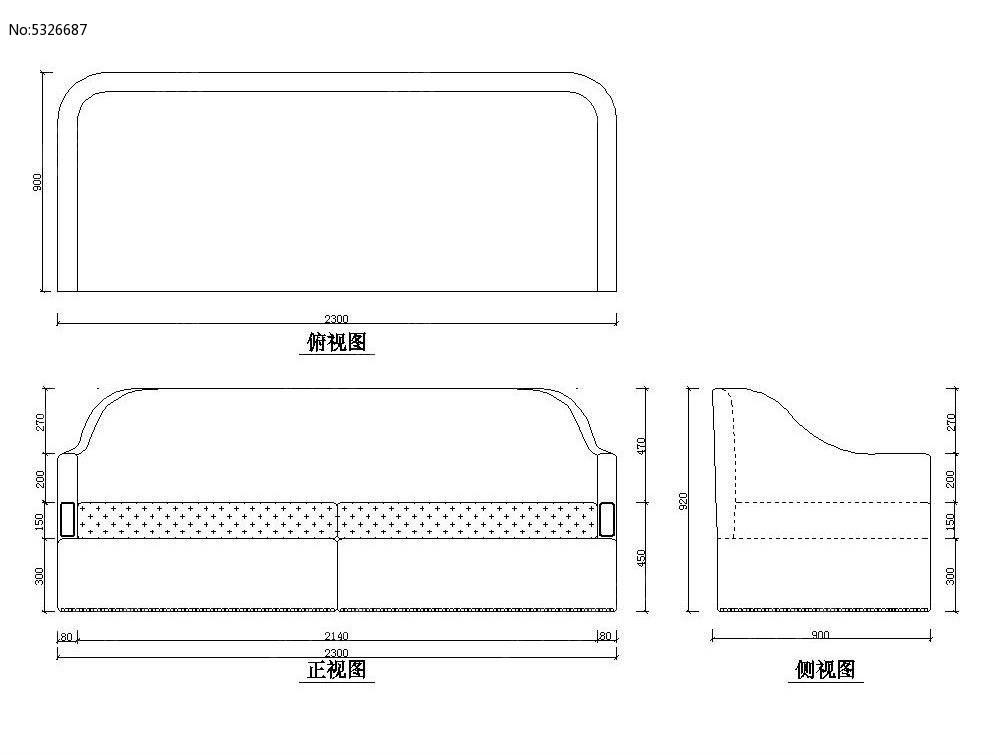 沙发设计图cad素材图片