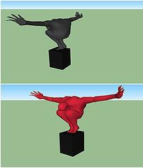 展臂人物雕塑SU模型 skp