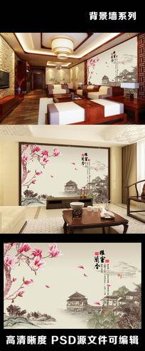 中国风水墨山水画背景墙