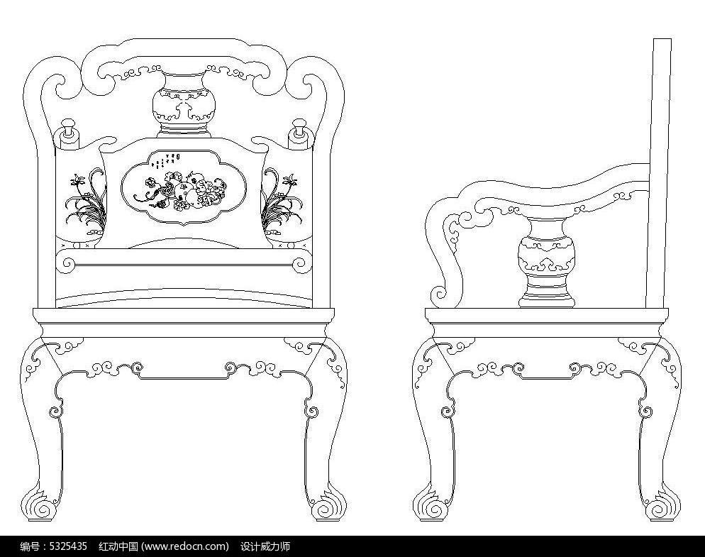 中式古典办公椅cad素材图片